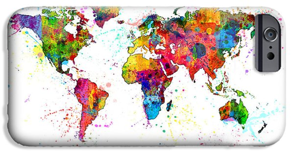 Map Canvas iPhone Cases - Watercolor Political Map of the World iPhone Case by Michael Tompsett
