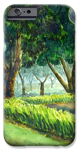 Park Scene Paintings iPhone Cases - Watercolor iPhone Case by Sunantha Tanom