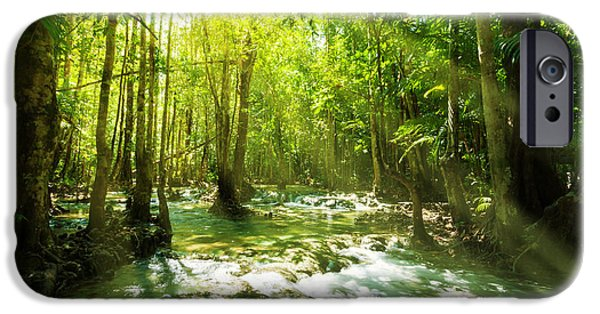 Floods Photographs iPhone Cases - Waterfall In Rainforest iPhone Case by Atiketta Sangasaeng