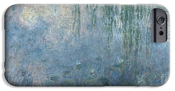 Willow iPhone Cases - Waterlilies Morning with Weeping Willows iPhone Case by Claude Monet