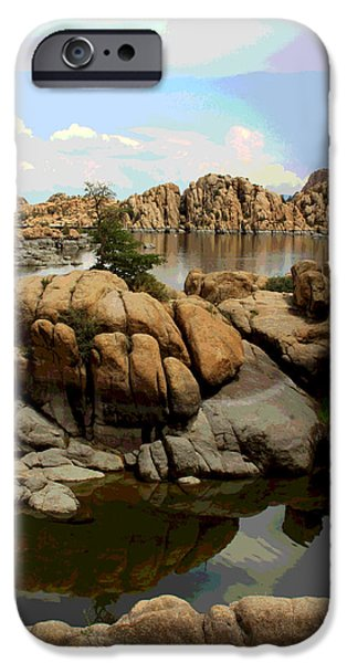 Prescott iPhone Cases - Watson Lake Reflections iPhone Case by Greg Thiemeyer