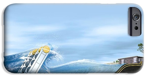 Flying Seagull iPhone Cases - Wave Energy Converter, Artwork iPhone Case by Claus Lunau