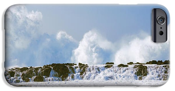 Power iPhone Cases - Waves Breaking At Rocks, Oahu, Hawaii iPhone Case by Panoramic Images