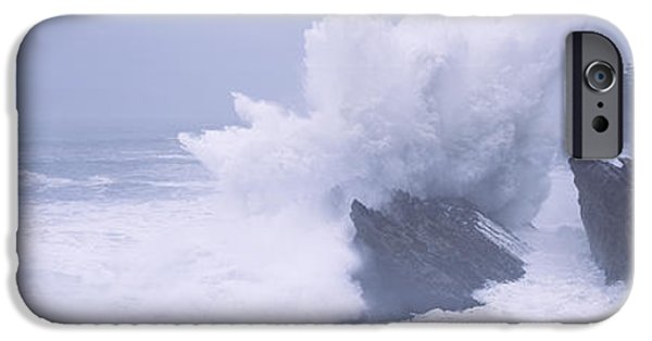 State Parks In Oregon iPhone Cases - Waves Breaking On The Coast, Shore iPhone Case by Panoramic Images