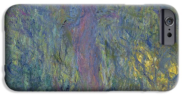 Garden iPhone Cases - Weeping Willow iPhone Case by Claude Monet