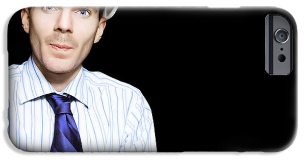 Well Dressed iPhone Cases - Well Dressed Engineer Isolated On Black Background iPhone Case by Ryan Jorgensen