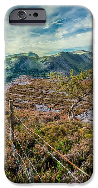 Ruins Digital Art iPhone Cases - Welsh Mountains iPhone Case by Adrian Evans