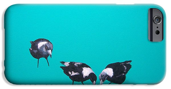 Magpies iPhone Cases - What about me iPhone Case by Jan Matson