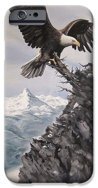 Soaring Paintings iPhone Cases - Where Eagles soar iPhone Case by Martin Lacasse