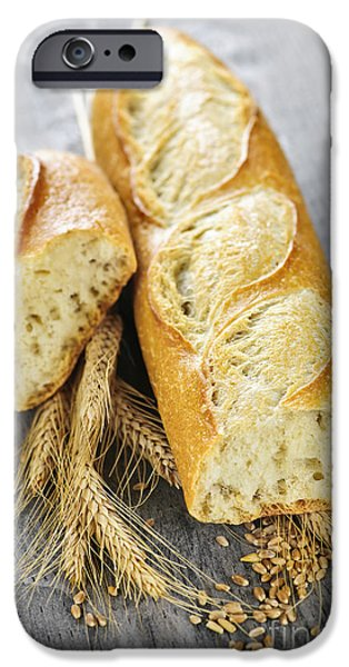 Bread iPhone Cases - White baguette iPhone Case by Elena Elisseeva