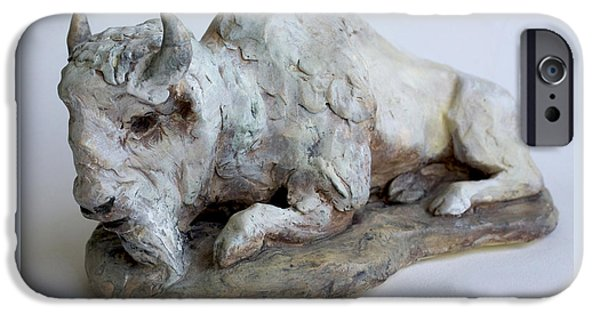 Buffalo Ceramics iPhone Cases - White Buffalo-Sculpture iPhone Case by Derrick Higgins