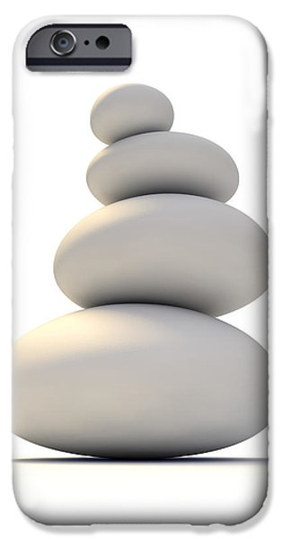 Buddhism iPhone Cases - White Zen Stones iPhone Case by Allan Swart