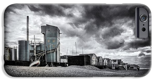 Moody Beach iPhone Cases - Whitstable Beach iPhone Case by Ian Hufton