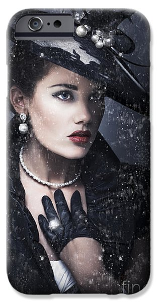 Sombre iPhone Cases - Widow At Funeral iPhone Case by Ryan Jorgensen