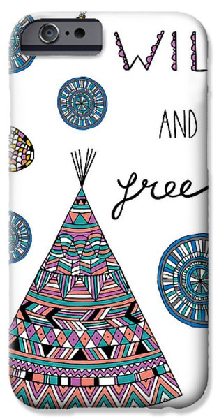 Graphic Design iPhone Cases - Wild And Free iPhone Case by Susan Claire