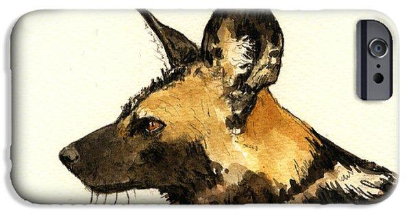 Dog Head iPhone Cases - Wild dog iPhone Case by Juan  Bosco