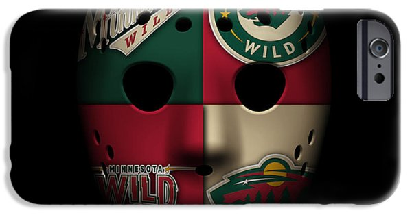 Minnesota iPhone Cases - Wild Goalie Mask iPhone Case by Joe Hamilton