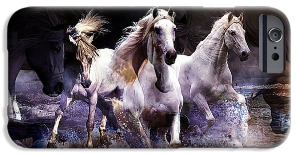 Best Sellers -  - Horse iPhone Cases - Wild Horses iPhone Case by Marvin Blaine