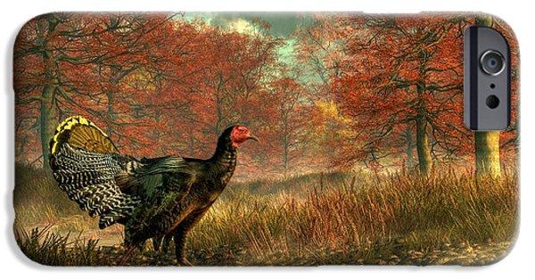 Thanksgiving Digital iPhone Cases - Wild Turkey iPhone Case by Daniel Eskridge