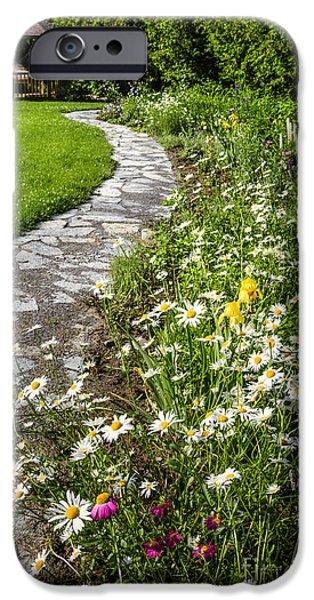 Garden Flowers Photographs iPhone Cases - Wildflower garden and path to gazebo iPhone Case by Elena Elisseeva