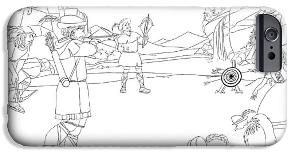 Switzerland Drawings iPhone Cases - William Tell hits the bullseye iPhone Case by Reynold Jay