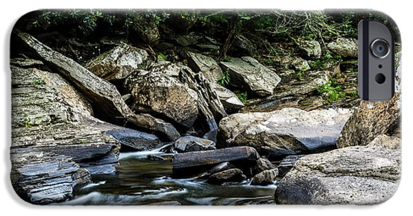 Trout Stream Landscape iPhone Cases - Williams River Rocks iPhone Case by Thomas R Fletcher