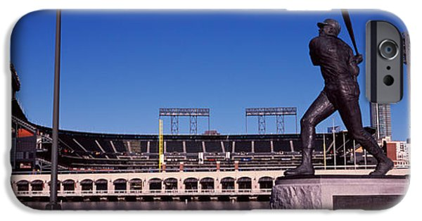 Baseball Parks iPhone Cases - Willie Mays Statue In Front iPhone Case by Panoramic Images