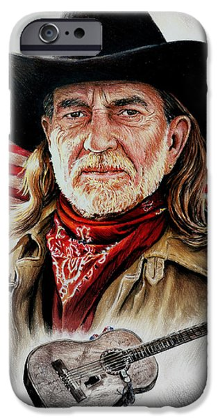 Stars And Stripes Mixed Media iPhone Cases - Willie Nelson American Legend iPhone Case by Andrew Read