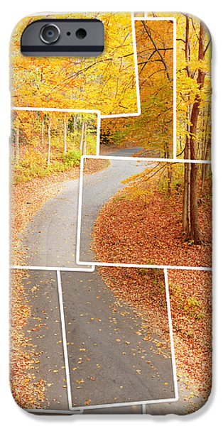 Asphalt iPhone Cases - Winding alley in fall iPhone Case by Alexey Stiop
