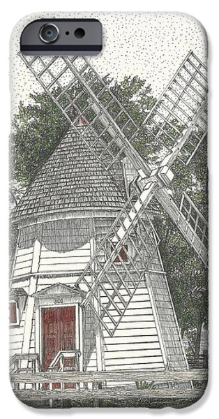 Yorktown Virginia iPhone Cases - Windmill on Water Street iPhone Case by Stephany Elsworth