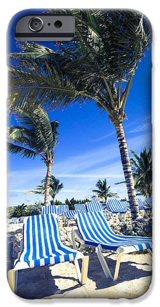 Empty Chairs iPhone Cases - Windy Day at the Beach iPhone Case by Susan Stone