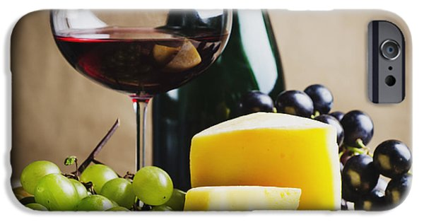 Table Wine iPhone Cases - Wine and cheese iPhone Case by Jelena Jovanovic