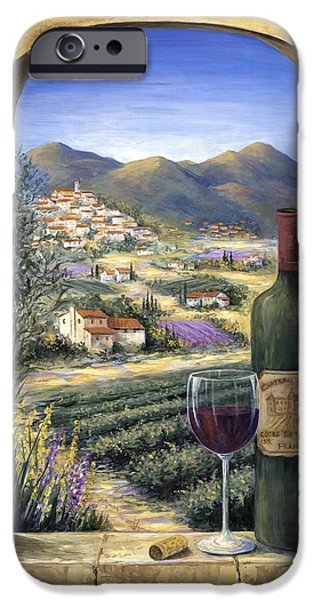 Wine Bottles Paintings iPhone Cases - Wine and Lavender iPhone Case by Marilyn Dunlap