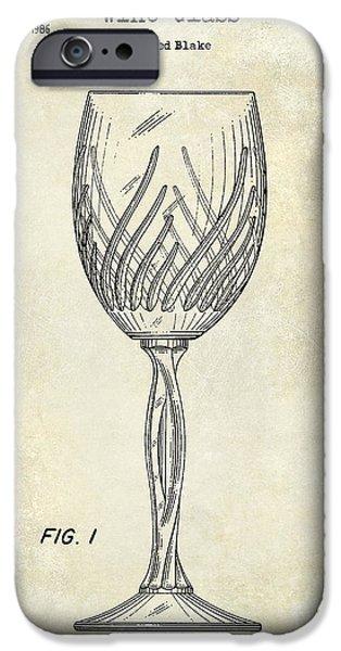 Wine Bottles iPhone Cases - Wine Glass Patent Drawing iPhone Case by Jon Neidert