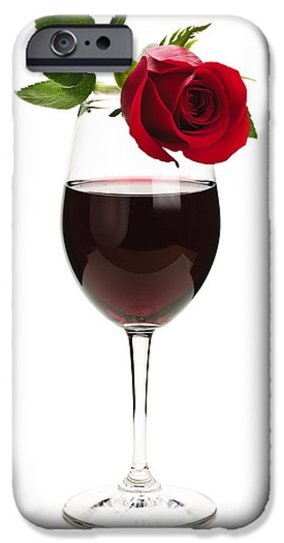 Red Wine iPhone Cases - Wine with red rose iPhone Case by Elena Elisseeva