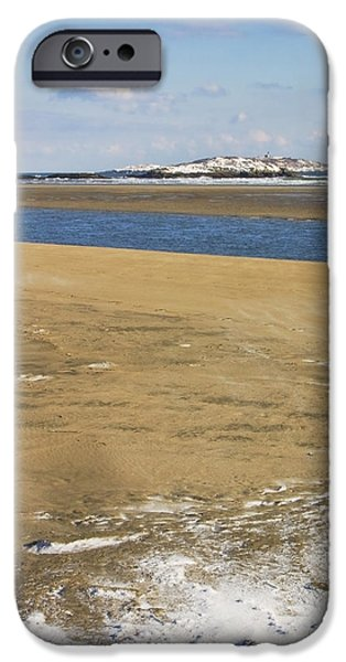 Winter Scene iPhone Cases - Winter at Popham Beach State Park Maine iPhone Case by Keith Webber Jr