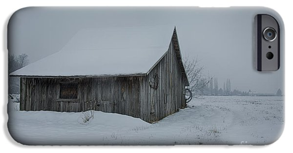 Snowy Day iPhone Cases - Winter Barn iPhone Case by Idaho Scenic Images Linda Lantzy
