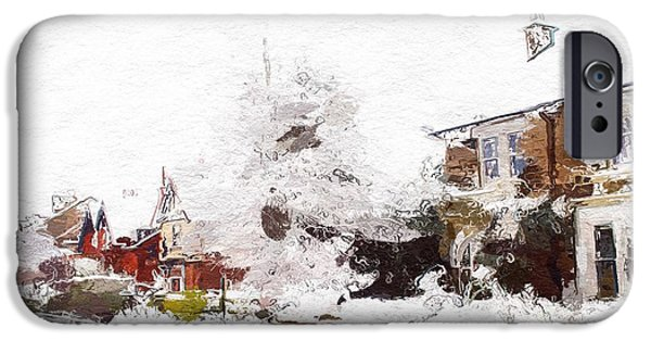 Village Mixed Media iPhone Cases - Winter in our street iPhone Case by Stefan Kuhn