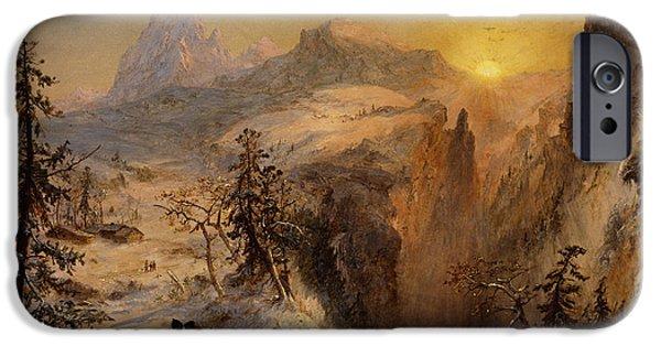 Switzerland Paintings iPhone Cases - Winter in Switzerland iPhone Case by Jasper Francis Cropsey