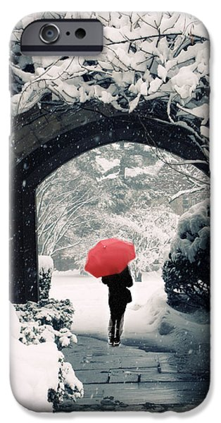 Umbrella iPhone Cases - Winter Passage iPhone Case by Jessica Jenney