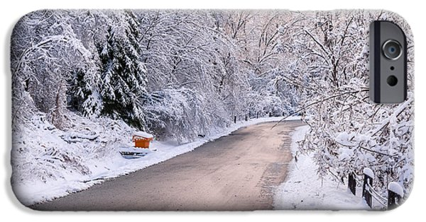 Winter Storm iPhone Cases - Winter road after snowfall iPhone Case by Elena Elisseeva