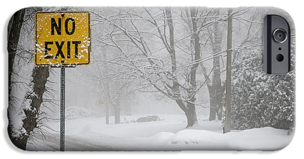 Condition iPhone Cases - Winter road during snowfall IV iPhone Case by Elena Elisseeva