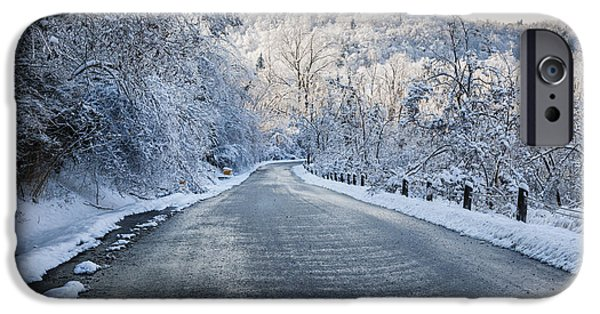 Winter Storm iPhone Cases - Winter road iPhone Case by Elena Elisseeva