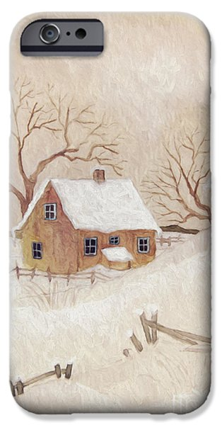 Altered iPhone Cases - Winter scene with farmhouse/ digitally altered iPhone Case by Sandra Cunningham
