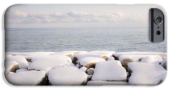 Park Scene iPhone Cases - Winter shore of lake Ontario iPhone Case by Elena Elisseeva