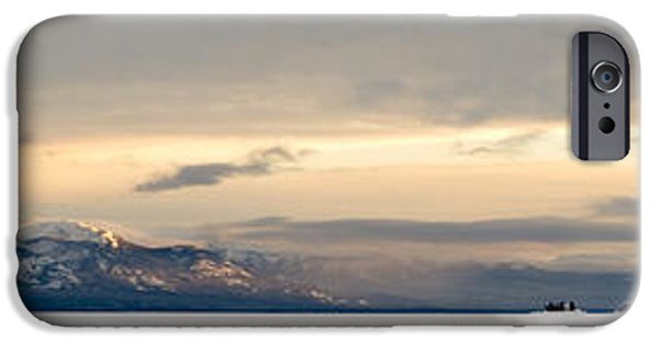 Wintertime iPhone Cases - Winter sky frozen snowy Lake Laberge Yukon Canada iPhone Case by Stephan Pietzko