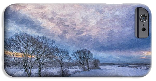 Snowy Day Digital Art iPhone Cases - Winter Sunrise iPhone Case by Antony McAulay