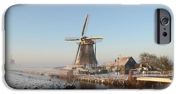 Agriculture iPhone Cases - Winter windmill landscape in Holland iPhone Case by IPics Photography