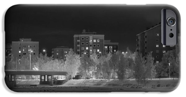 Snowy Night iPhone Cases - Wintry Night in Oulu Finland iPhone Case by Mountain Dreams