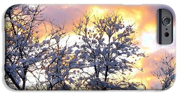 Wintry Digital iPhone Cases - Wintry Sunset iPhone Case by Will Borden